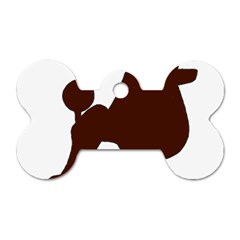 Poodle Brown Silo Dog Tag Bone (Two Sides)