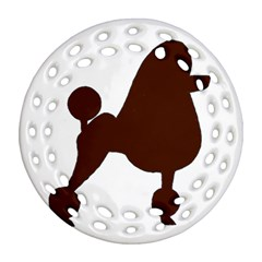 Poodle Brown Silo Round Filigree Ornament (Two Sides)