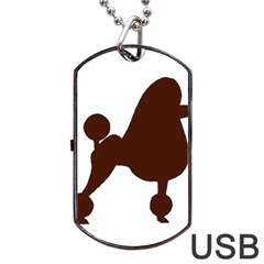 Poodle Brown Silo Dog Tag USB Flash (One Side)