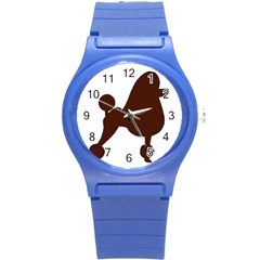 Poodle Brown Silo Round Plastic Sport Watch (S)