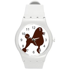 Poodle Brown Silo Round Plastic Sport Watch (M)