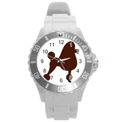 Poodle Brown Silo Round Plastic Sport Watch (L)