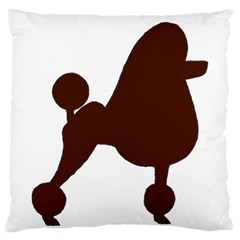 Poodle Brown Silo Large Cushion Case (One Side)