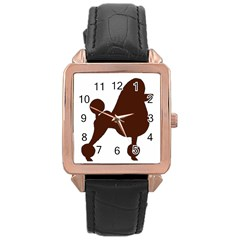 Poodle Brown Silo Rose Gold Leather Watch