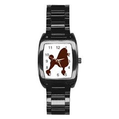 Poodle Brown Silo Stainless Steel Barrel Watch