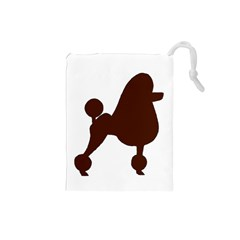 Poodle Brown Silo Drawstring Pouches (Small)