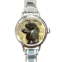 Poodle Love W Pic Black Round Italian Charm Watch