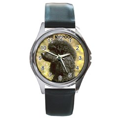 Poodle Love W Pic Black Round Metal Watch