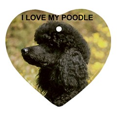 Poodle Love W Pic Black Ornament (Heart)