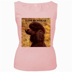 Poodle Love W Pic Black Women s Pink Tank Top