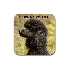 Poodle Love W Pic Black Rubber Coaster (Square)