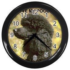 Poodle Love W Pic Black Wall Clocks (Black)