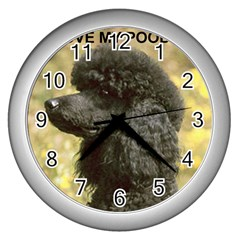 Poodle Love W Pic Black Wall Clocks (Silver)
