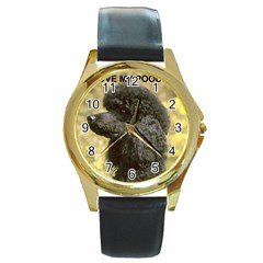 Poodle Love W Pic Black Round Gold Metal Watch