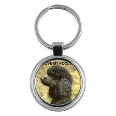 Poodle Love W Pic Black Key Chains (Round)