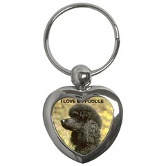 Poodle Love W Pic Black Key Chains (Heart)