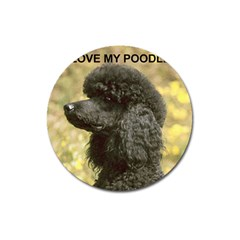 Poodle Love W Pic Black Magnet 3  (Round)