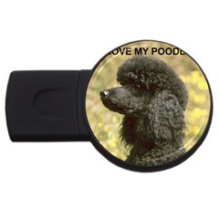 Poodle Love W Pic Black USB Flash Drive Round (1 GB)