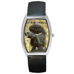 Poodle Love W Pic Black Barrel Style Metal Watch
