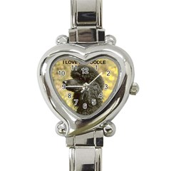Poodle Love W Pic Black Heart Italian Charm Watch
