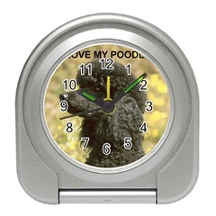 Poodle Love W Pic Black Travel Alarm Clocks
