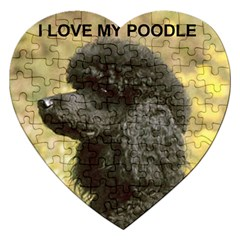Poodle Love W Pic Black Jigsaw Puzzle (Heart)