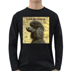Poodle Love W Pic Black Long Sleeve Dark T-Shirts