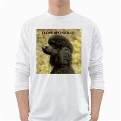 Poodle Love W Pic Black White Long Sleeve T-Shirts