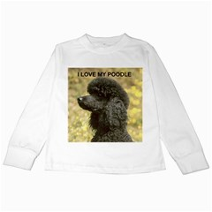 Poodle Love W Pic Black Kids Long Sleeve T-Shirts