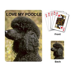 Poodle Love W Pic Black Playing Card