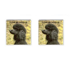 Poodle Love W Pic Black Cufflinks (Square)