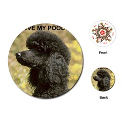 Poodle Love W Pic Black Playing Cards (Round)