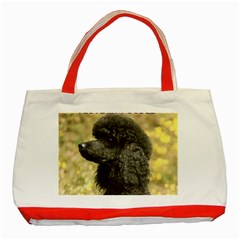 Poodle Love W Pic Black Classic Tote Bag (Red)