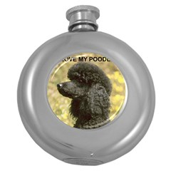 Poodle Love W Pic Black Round Hip Flask (5 oz)