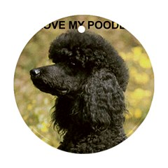 Poodle Love W Pic Black Round Ornament (Two Sides)