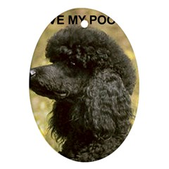Poodle Love W Pic Black Oval Ornament (Two Sides)