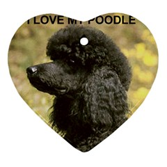 Poodle Love W Pic Black Heart Ornament (Two Sides)