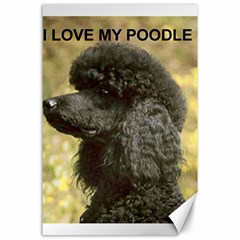 Poodle Love W Pic Black Canvas 24  x 36