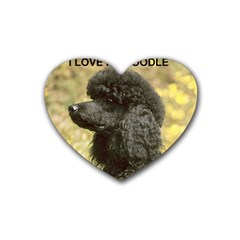 Poodle Love W Pic Black Rubber Coaster (Heart)