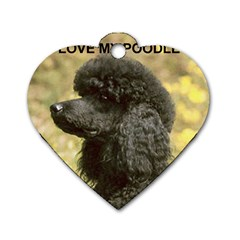 Poodle Love W Pic Black Dog Tag Heart (One Side)