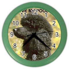 Poodle Love W Pic Black Color Wall Clocks
