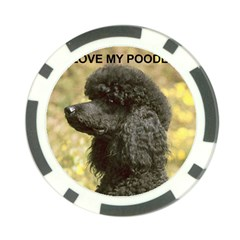 Poodle Love W Pic Black Poker Chip Card Guard