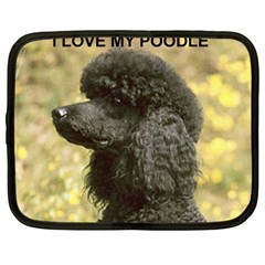 Poodle Love W Pic Black Netbook Case (Large)