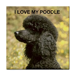Poodle Love W Pic Black Face Towel