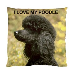 Poodle Love W Pic Black Standard Cushion Case (One Side)