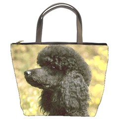 Poodle Love W Pic Black Bucket Bags