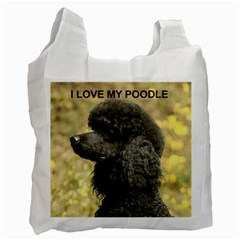 Poodle Love W Pic Black Recycle Bag (One Side)