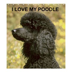 Poodle Love W Pic Black Shower Curtain 66  x 72  (Large)