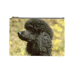 Poodle Love W Pic Black Cosmetic Bag (Large)
