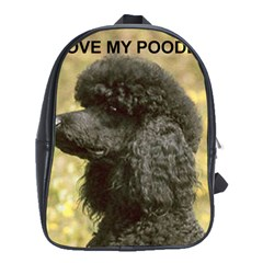 Poodle Love W Pic Black School Bags(Large)